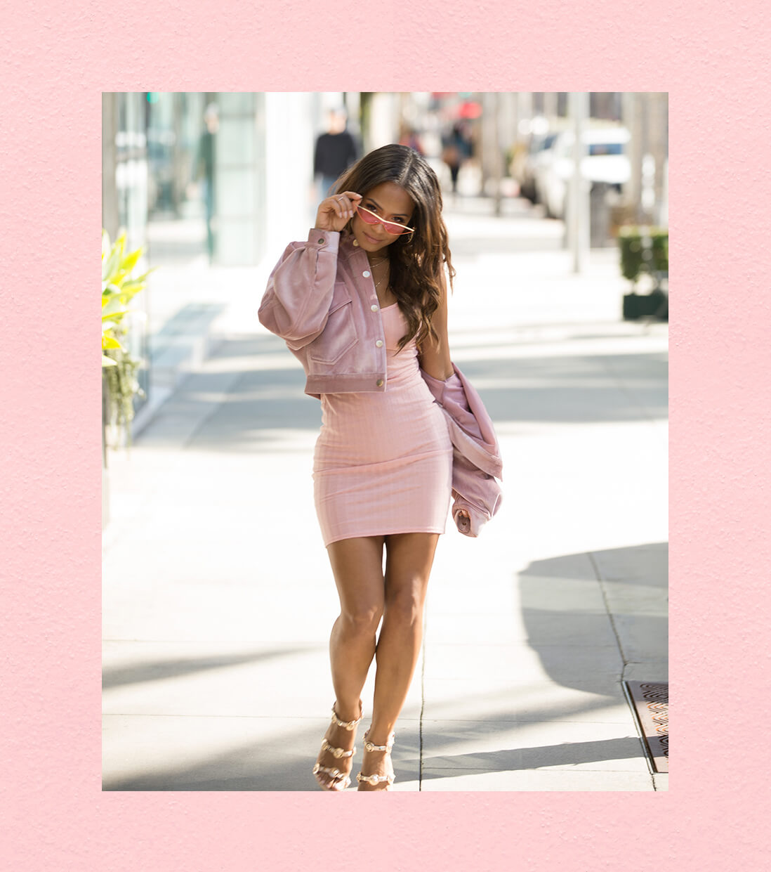 Christina Milian Pink Strappy Dress Shoot 4 Mobile