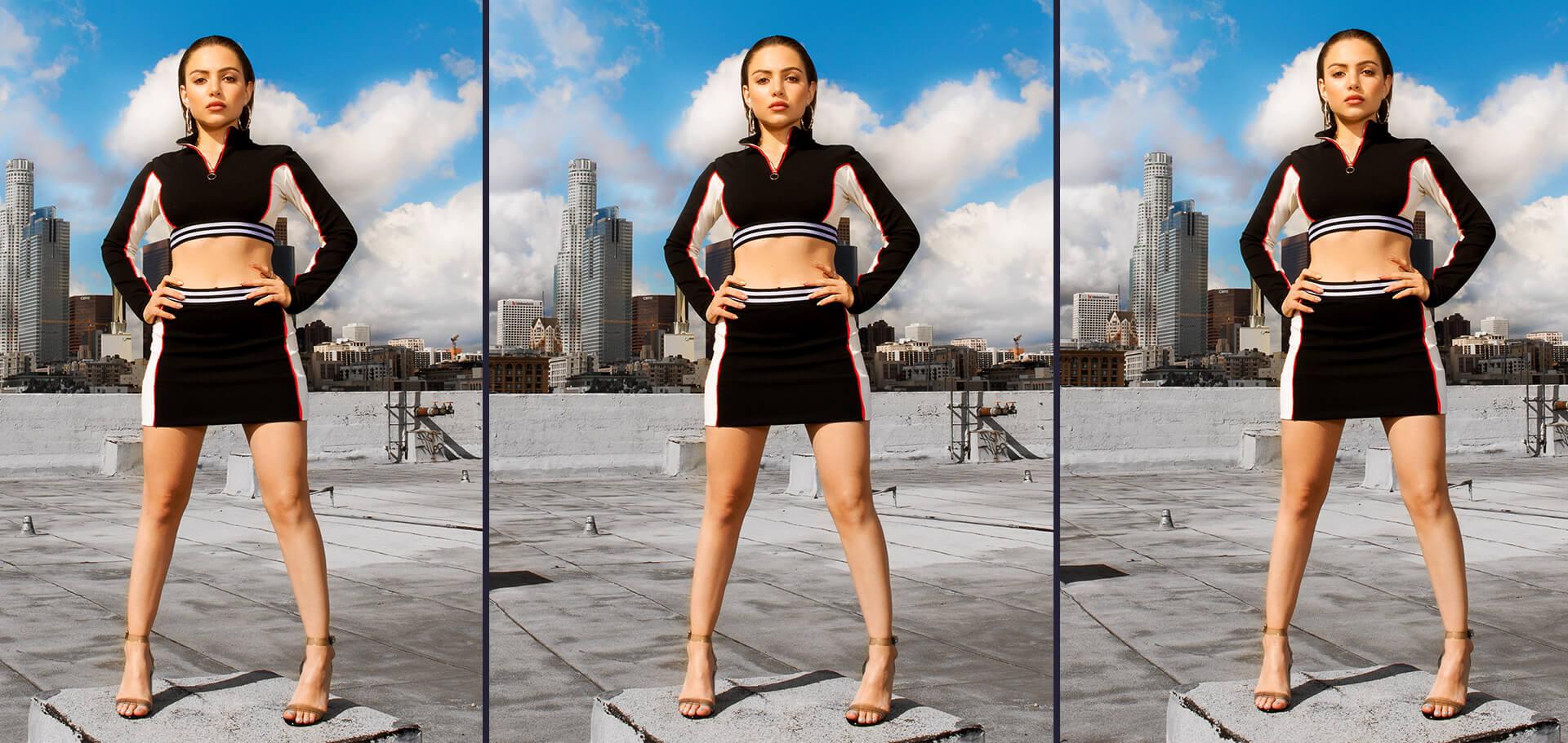 Nathalie Paris Black Co-Ord Crop Top & Black Mini Skirt Shoot 4 Desktop
