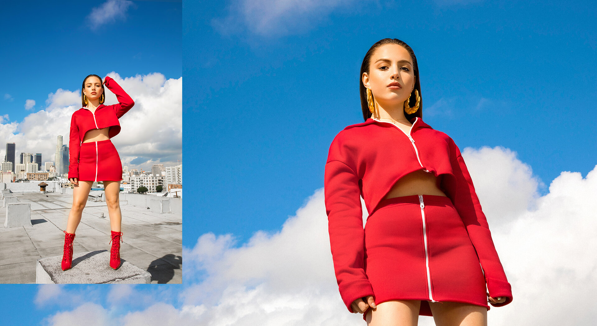 Nathalie Paris Red Crop Jacket & Red Mini Skirt Shoot 5 Desktop