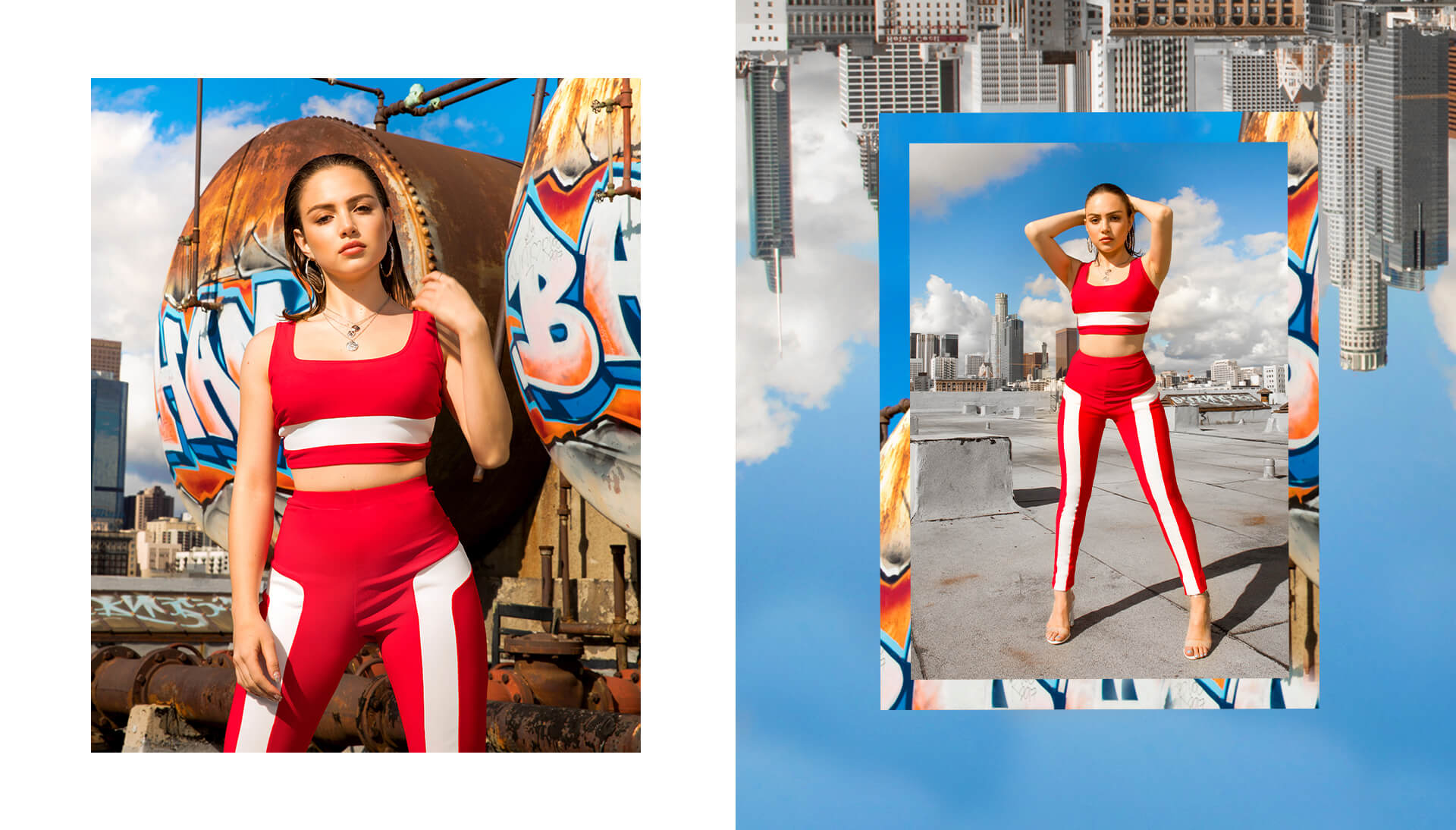 Nathalie Paris Red Crop Top & Red Stripe Trousers Shoot 6 Desktop