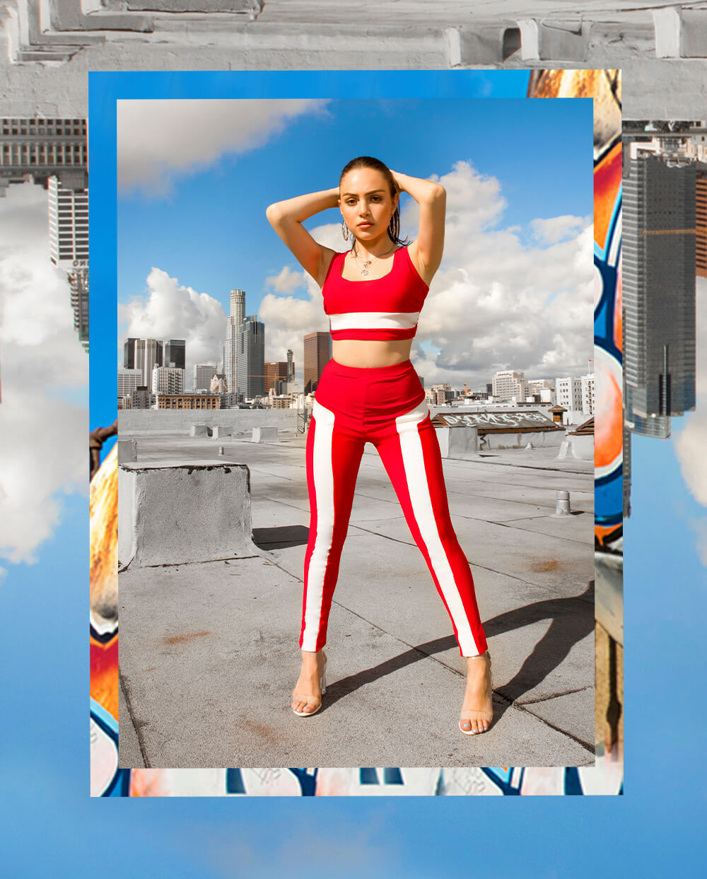 Nathalie Paris Red Crop Top & Red Stripe Trousers Shoot 10 Mobile